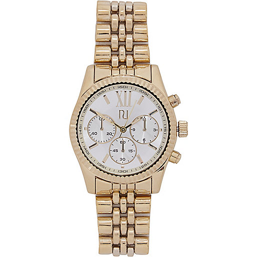 Gold tone roman numeral bracelet watch
