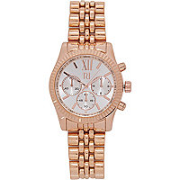 Rose gold tone roman numeral bracelet watch