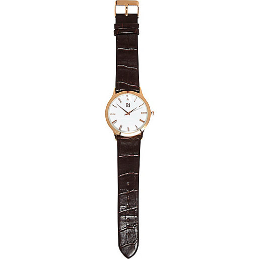 Dark brown mock croc watch