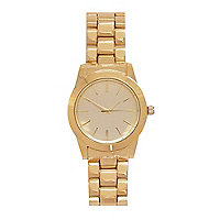 Gold tone round face bracelet watch