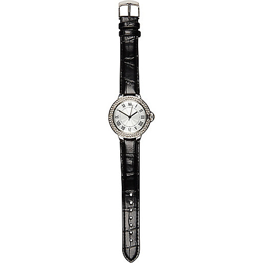 Black croc diamante watch