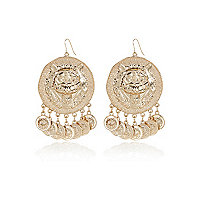 Gold tone lion coin dangle earrings