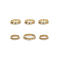 Gold tone mixed ring pack
