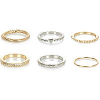 Mixed metal midi rings pack