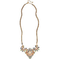 Gold tone clustered gem stone necklace