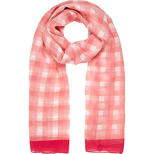 Pink check colour block scarf