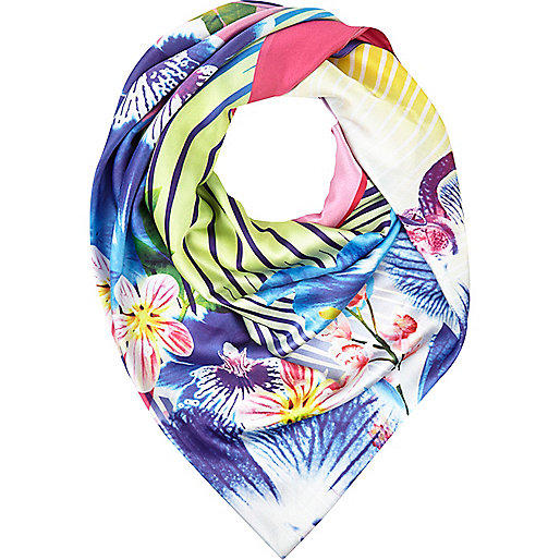 Blue digital orchid print square scarf