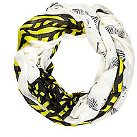 Cream mixed zebra print lightweight snood