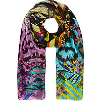 Multicoloured mixed digital print silk scarf