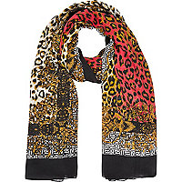 Brown leopard and baroque print scarf