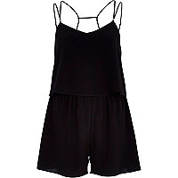 Black multi strap layered playsuit