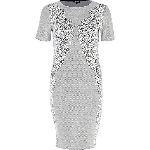 Cream animal jacquard bodycon dress