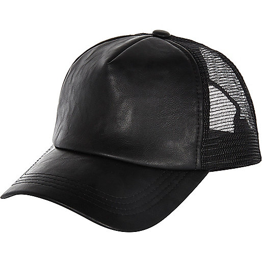 Black PU trucker hat
