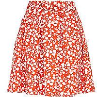 Red ditsy floral print skater skirt