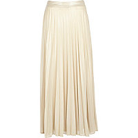 Pale gold pleated maxi skirt