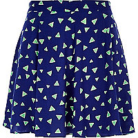 Blue triangle print skater skirt