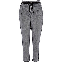 Dark grey twill cigarette pants