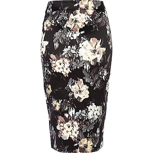 Black blurred floral print pencil skirt