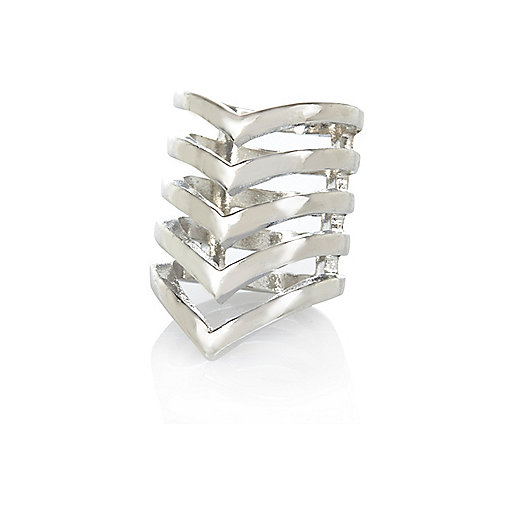 Silver tone chevron midi ring