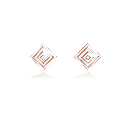 White repeat square stud earrings