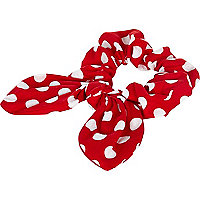 Red polka dot bunny ear scrunchie
