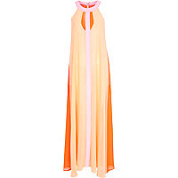 Light pink chiffon colour block maxi dress