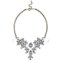 Silver tone diamante statement necklace