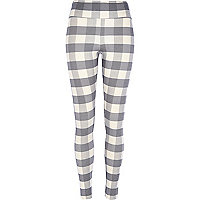 Grey gingham high waisted leggings