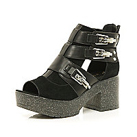 Black glittery cut out shoe boots