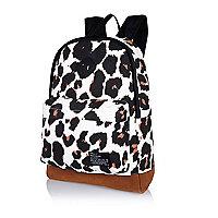 White graphic leopard print rucksack