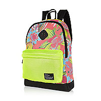 Pink mesh tropical print rucksack