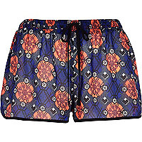 Blue geometric print runner shorts