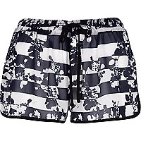 Blue floral stripe print runner shorts