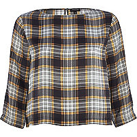 Grey check boxy top