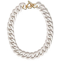 White curb chain necklace
