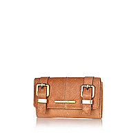 Tan leather double buckle purse