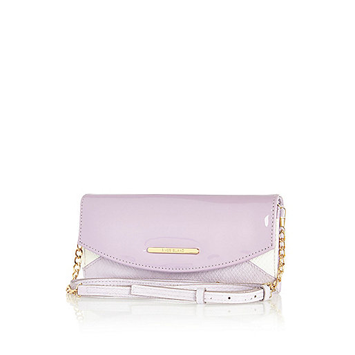 Lilac patent cross body purse