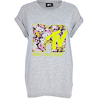 Grey floral MTV print oversized t-shirt