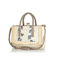 Beige snake metal trim frame bag