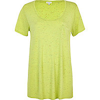 Lime neppy low scoop t-shirt