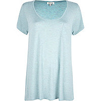 Light blue marl low scoop neck t-shirt