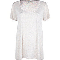 Light pink marl low scoop neck t-shirt