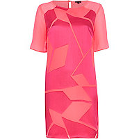 Bright pink burnout shift dress