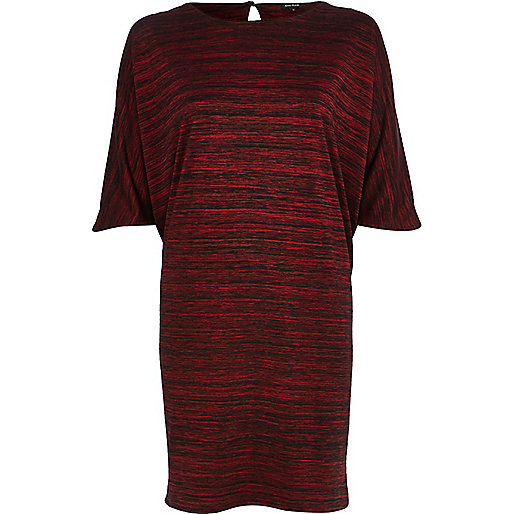 Red batwing sleeve t-shirt dress