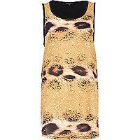 Yellow sequin animal print tank top