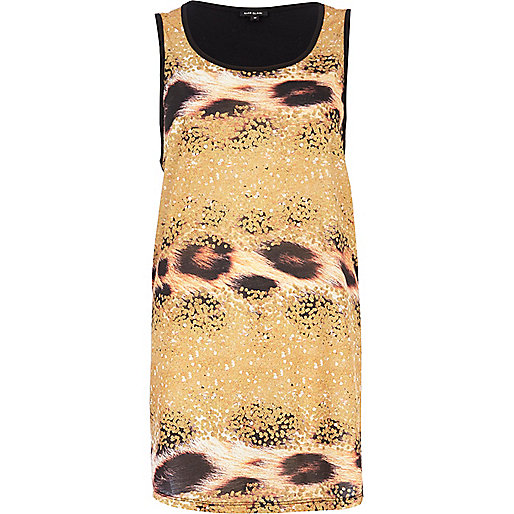 Yellow sequin animal print tank top