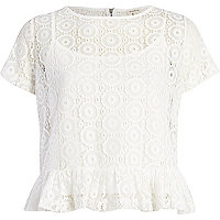 White lace peplum t-shirt