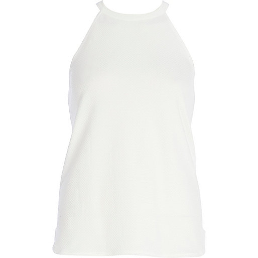 White textured racer front top