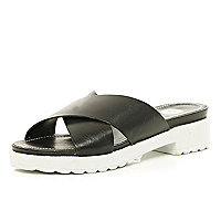 Black cross strap pool sliders