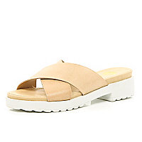 Nude cross strap pool sliders